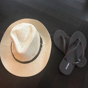 ☀️🌸Fedora Hat & Flip Flops